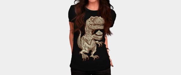 Velociraptors love cupcakes! T-shirt Design by herky woman main image