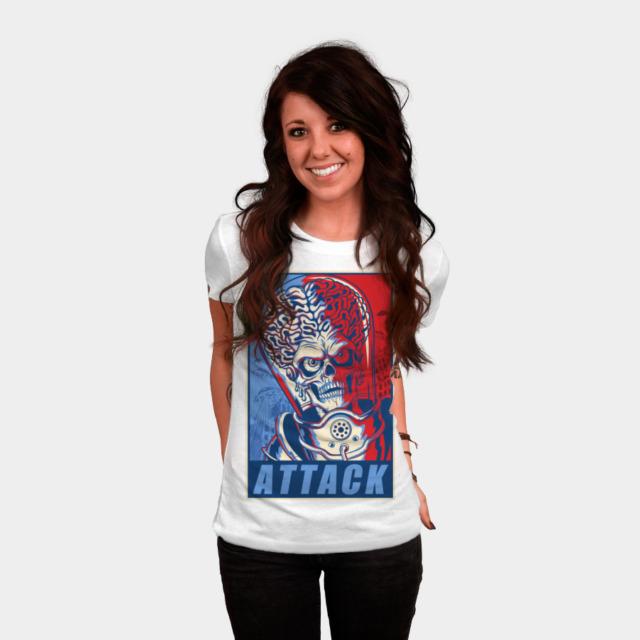 Attack! T-shirt Design by ArtofCorey woman