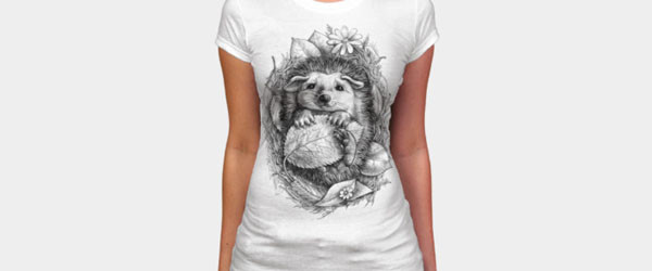 Little Hedgehog T-shirt Design by elinakious design main