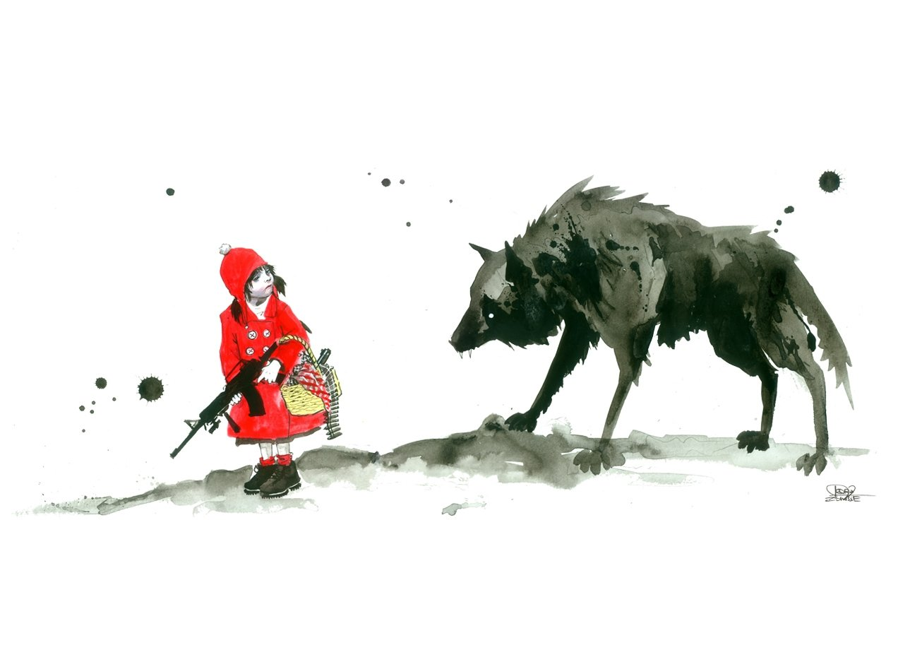 RED RIDING HOOD T-shirt Design by Lora Zombie desig