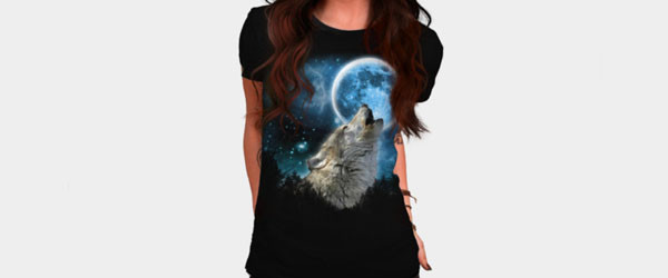 Silver Wolfs Skylight T-shirt Design by comdo99