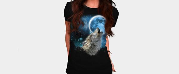 Silver Wolfs Skylight T-shirt Design by comdo99