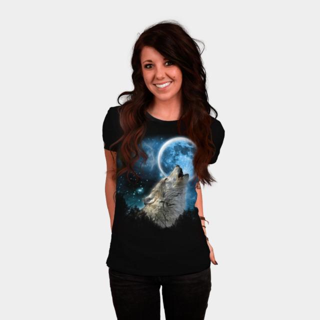 Silver Wolfs Skylight T-shirt Design by comdo99 woman