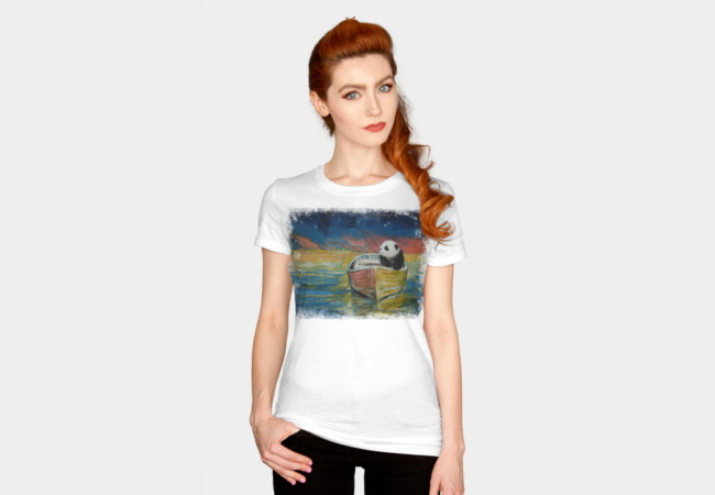 PANDA STARGAZER T-shirt Design by creese woman