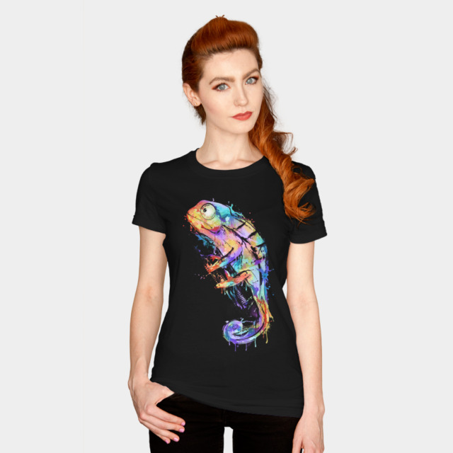 Chameleon T-shirt Design by alnavasord woman