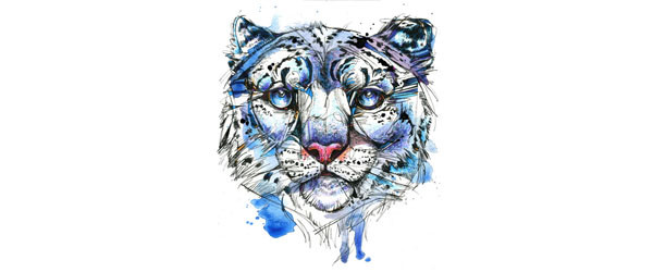 Icy Snow Leopard T-shirt Design by AbbyDiamond design design