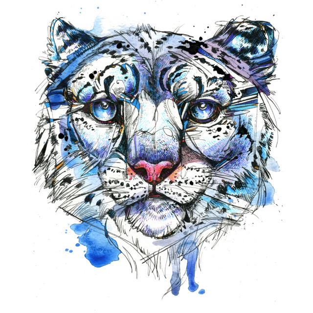 Icy Snow Leopard T-shirt Design by AbbyDiamond design