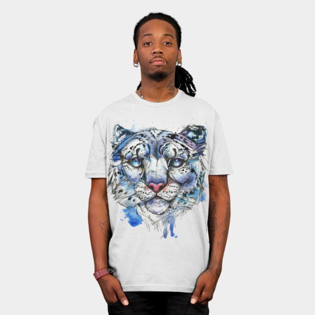 Icy Snow Leopard T-shirt Design by AbbyDiamond man