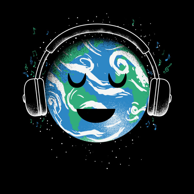 The whole earth loves music T-shirt Design by biotwist design
