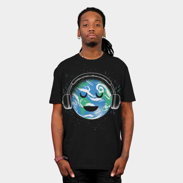 The whole earth loves music T-shirt Design by biotwist man