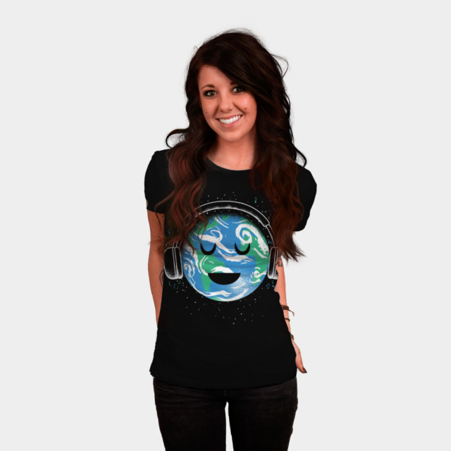 The whole earth loves music T-shirt Design by biotwist woman