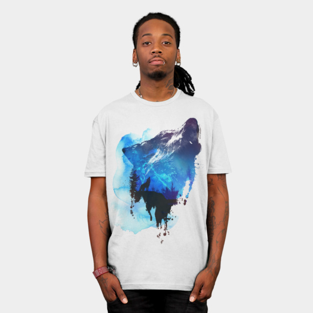 Alone as a wolf T-shirt Design by astronautARC man
