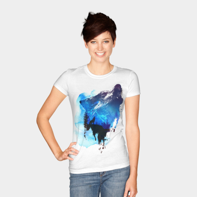 Alone as a wolf T-shirt Design by astronautARC woman