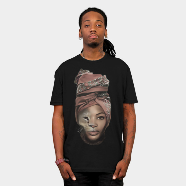 African Lion Girl T-shirt Design by MultimediaOne man