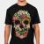 Floral Skull Vintage Black T-shirt by tobiasfonseca