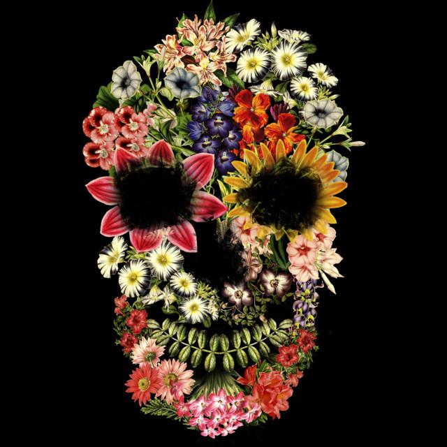 Floral Skull Vintage Black T-shirt by tobiasfonseca design