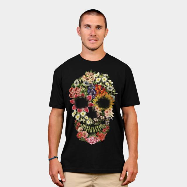 Floral Skull Vintage Black T-shirt by tobiasfonseca man