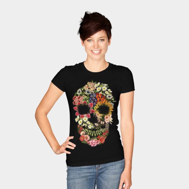 Floral Skull Vintage Black T-shirt by tobiasfonseca woman