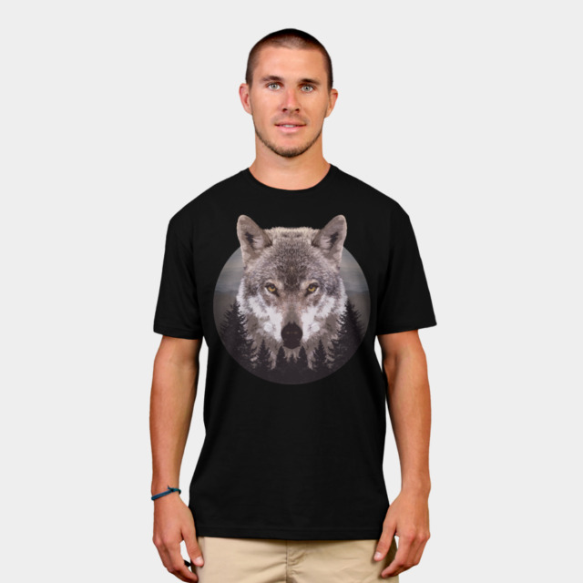Forest Wolf T-shirt Design by Mel00 man