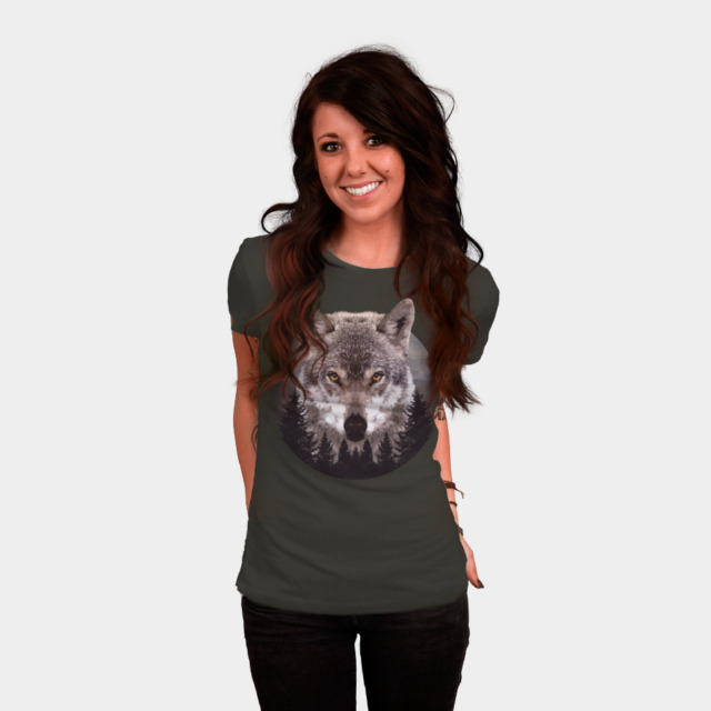 Forest Wolf T-shirt Design by Mel00 woman