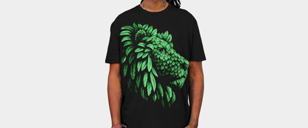 Green Lion Save the nature T-shirt Design by Teehunter man image