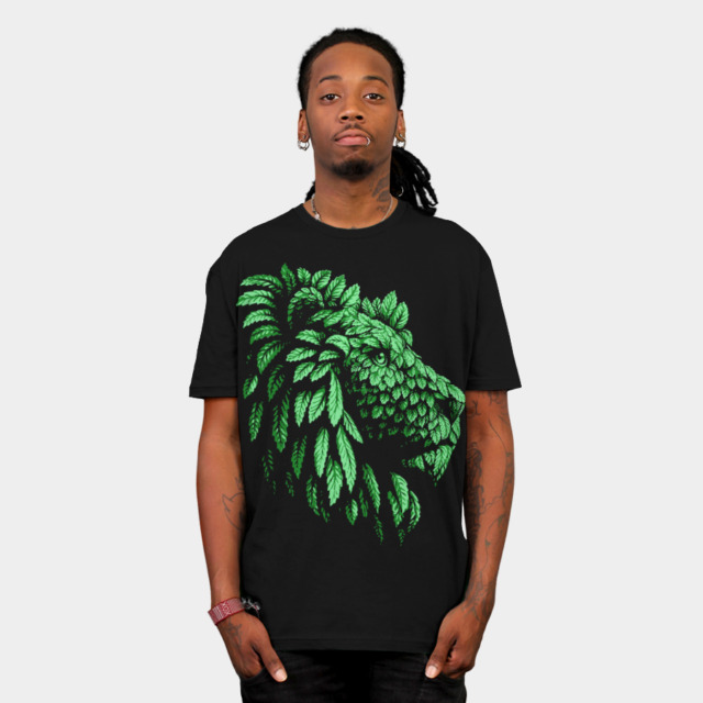 Green Lion Save the nature T-shirt Design by Teehunter man