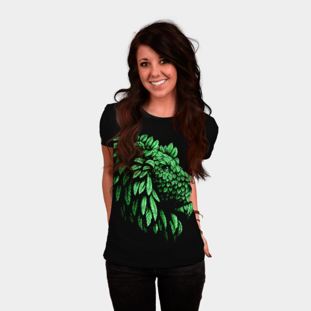 Green Lion Save the nature T-shirt Design by Teehunter woman