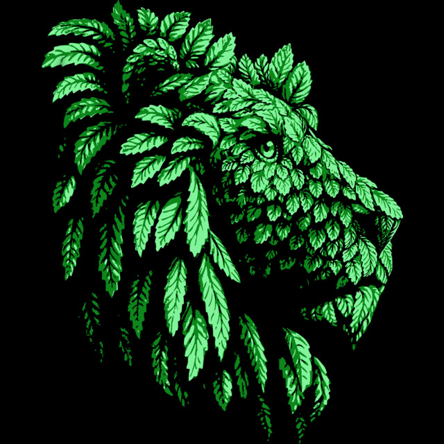Green Lion Save the nature T-shirt Design by Teehunter