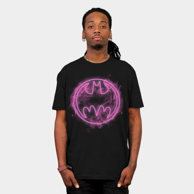 Neon Pink Bat Signal T-shirt Design by  DCComics man