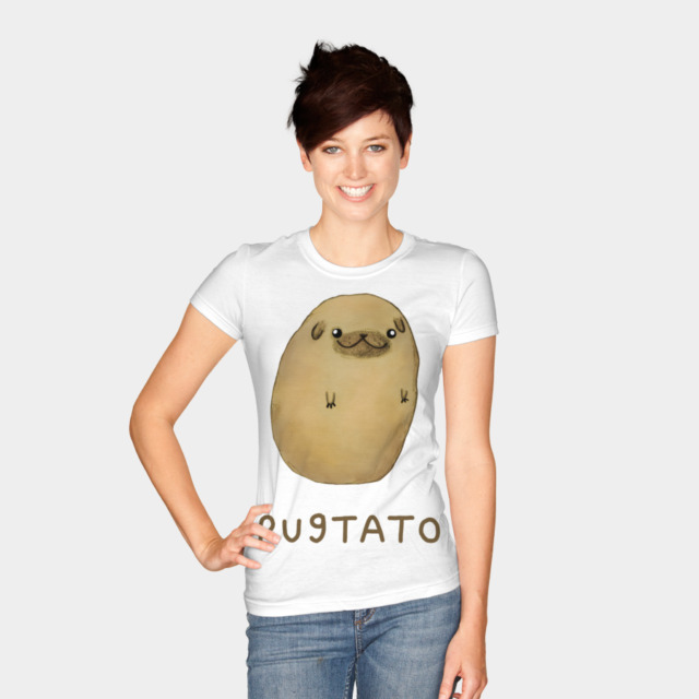 Pugtato T-shirt Design by SophieCorrigan woman