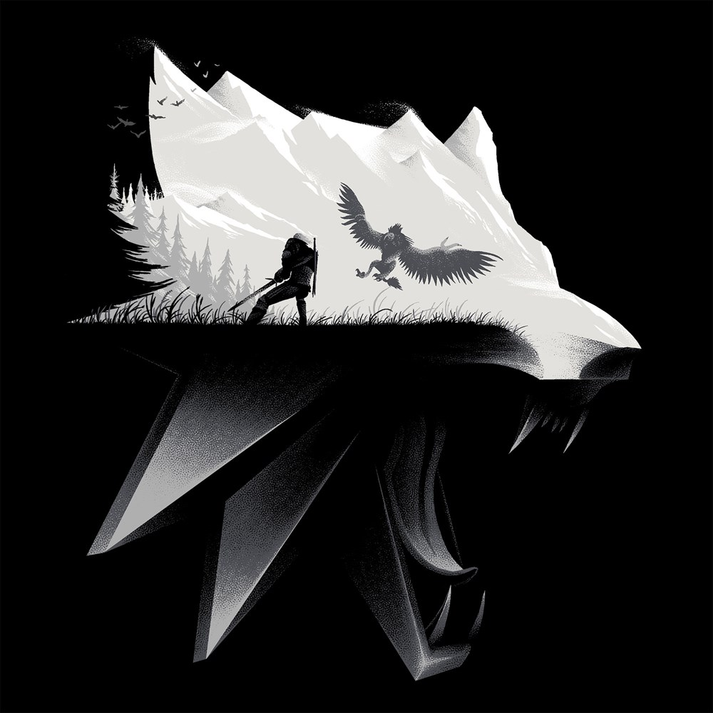 the-witcher-3-wolf-silhouette-t-shirt-design