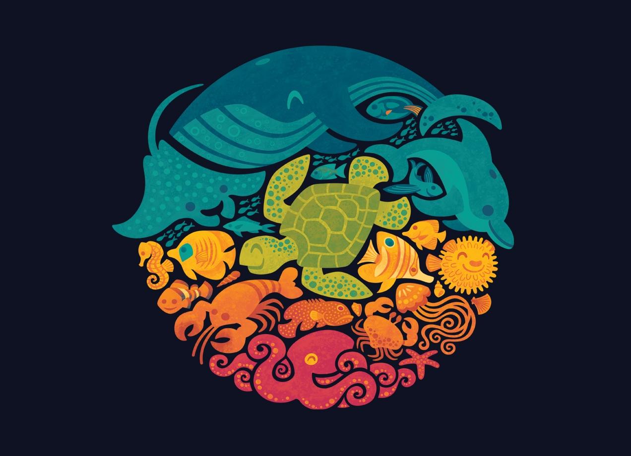 aquatic-rainbow-t-shirt-design-by-waynem-design