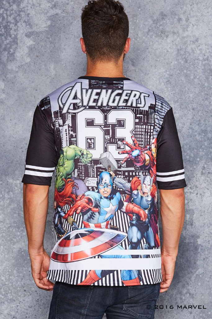 TEAM AVENGERS TOUCHDOWN T-shirt Design man back