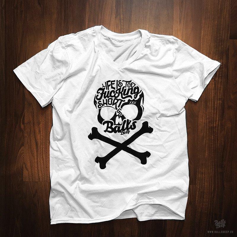 BALLS DEEP SKULL T-SHIRT T-shirt Design white