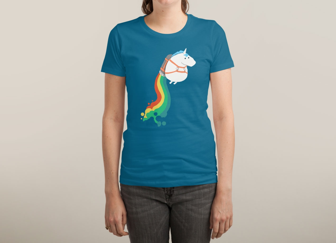 FAT UNICORN ON RAINBOW JETPACK T-shirt Design by radiomode woman