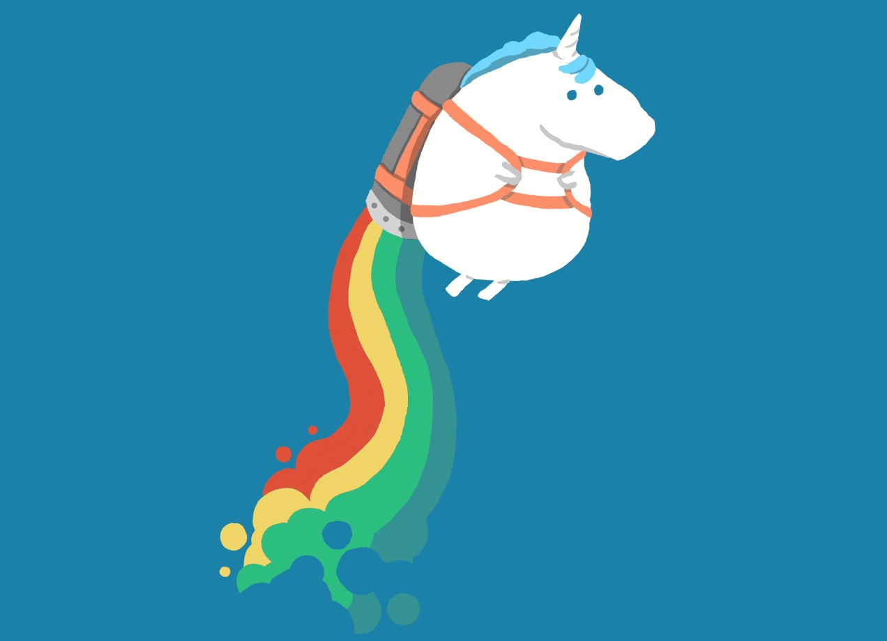 FAT UNICORN ON RAINBOW JETPACK T-shirt Design by radiomode