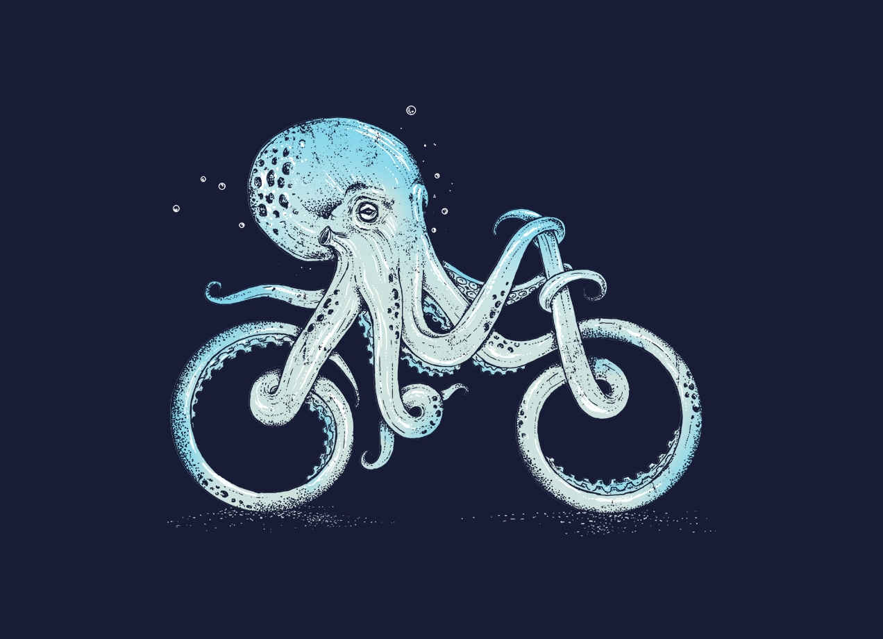 OCTOPUS BIKE T-shirt Design by Alan Maia design