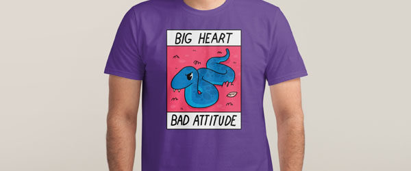 BIG HEART BAD ATTITUDE T-shirt Design by Jake Lawrence man main