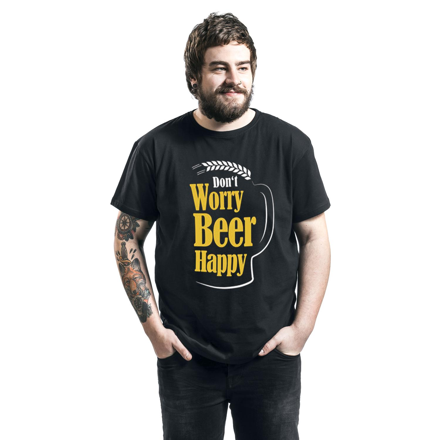 Don't Worry Beer Happy T-shirt Design man