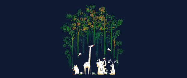 MEANWHILE IN THE WOODS T-shirt Design by Budi Satria Kwan design main