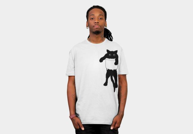 Hang loose black cat pocket art T-shirt Design by happycolor man