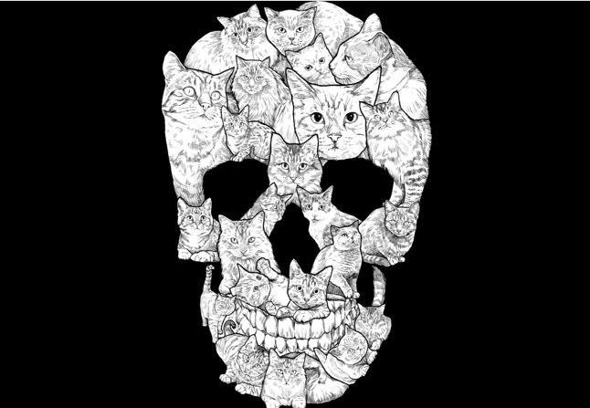 Sketchy Cat Skull T-shirt Design by Dinny main