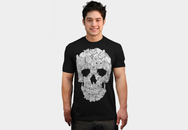 Sketchy Cat Skull T-shirt Design by Dinny man