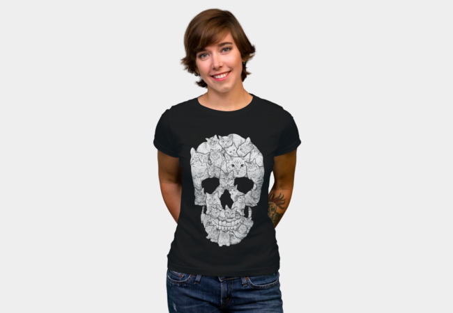 Sketchy Cat Skull T-shirt Design by Dinny woman