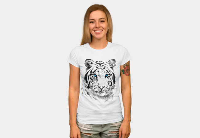 White Tiger T-shirt Design by Alberto Perez Chamosa woman