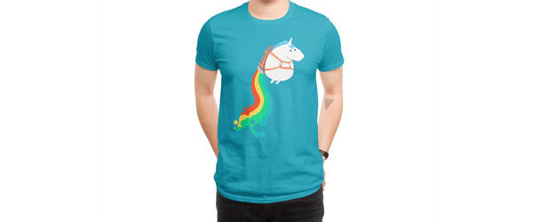 FAT UNICORN ON RAINBOW JETPACK T-shirt Design main image