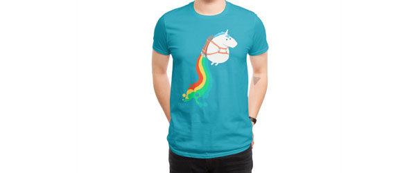FAT UNICORN ON RAINBOW JETPACK T-shirt Design main image