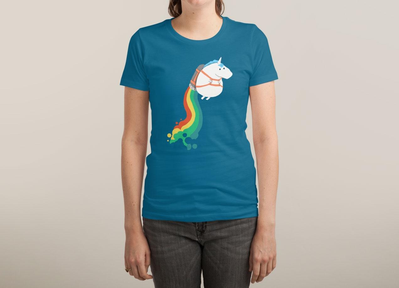 FAT UNICORN ON RAINBOW JETPACK T-shirt Design woman