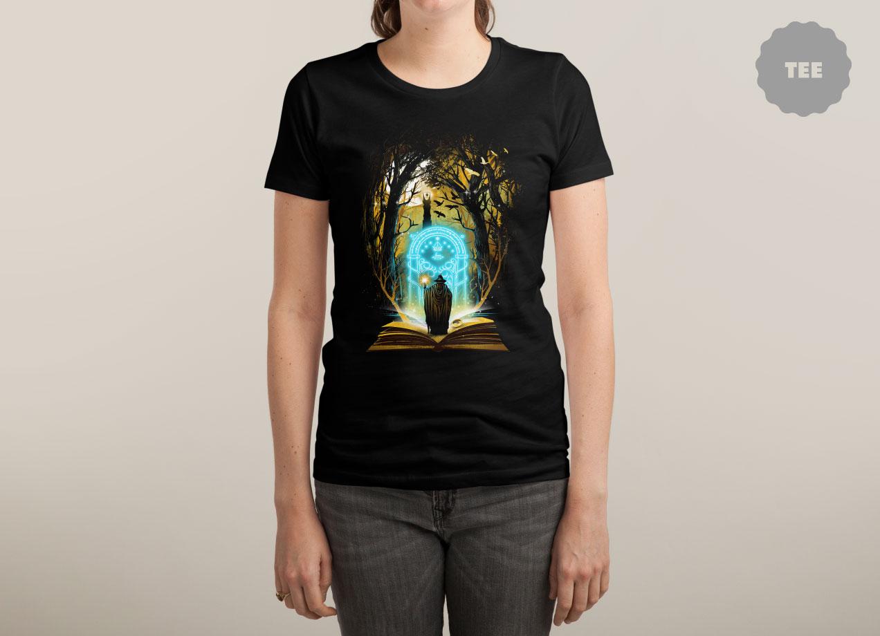 BOOK OF MAGIC AND ADVENTURES T-shirt Design by dandingeroz woman