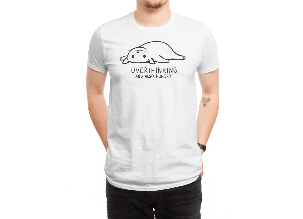 OVERTHINKING AND ALSO HUNGRY T-shirt Design by Fox Shiver man